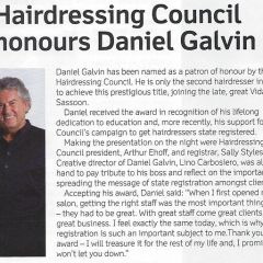 Daniel Galvin becomes Hairdressing Council Patron of Honour